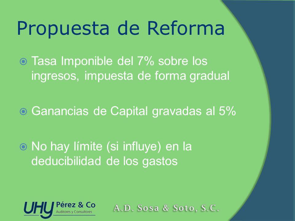 Propuesta de Reforma Tasa Imponible del 7% sobre los ingresos, impuesta de forma gradual. Ganancias de Capital gravadas al 5%