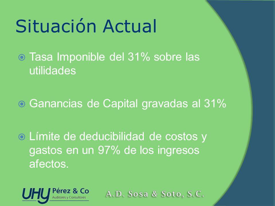 Situación Actual Tasa Imponible del 31% sobre las utilidades