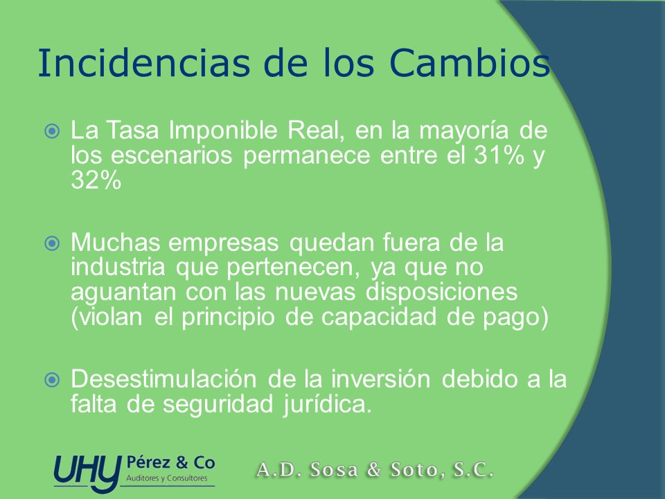 Incidencias de los Cambios