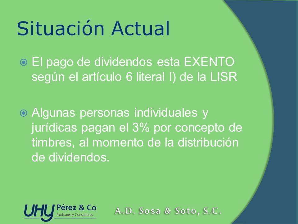 Situación Actual El pago de dividendos esta EXENTO según el artículo 6 literal l) de la LISR.