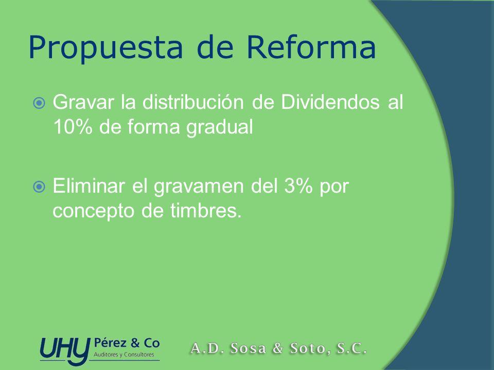 Propuesta de Reforma Gravar la distribución de Dividendos al 10% de forma gradual.
