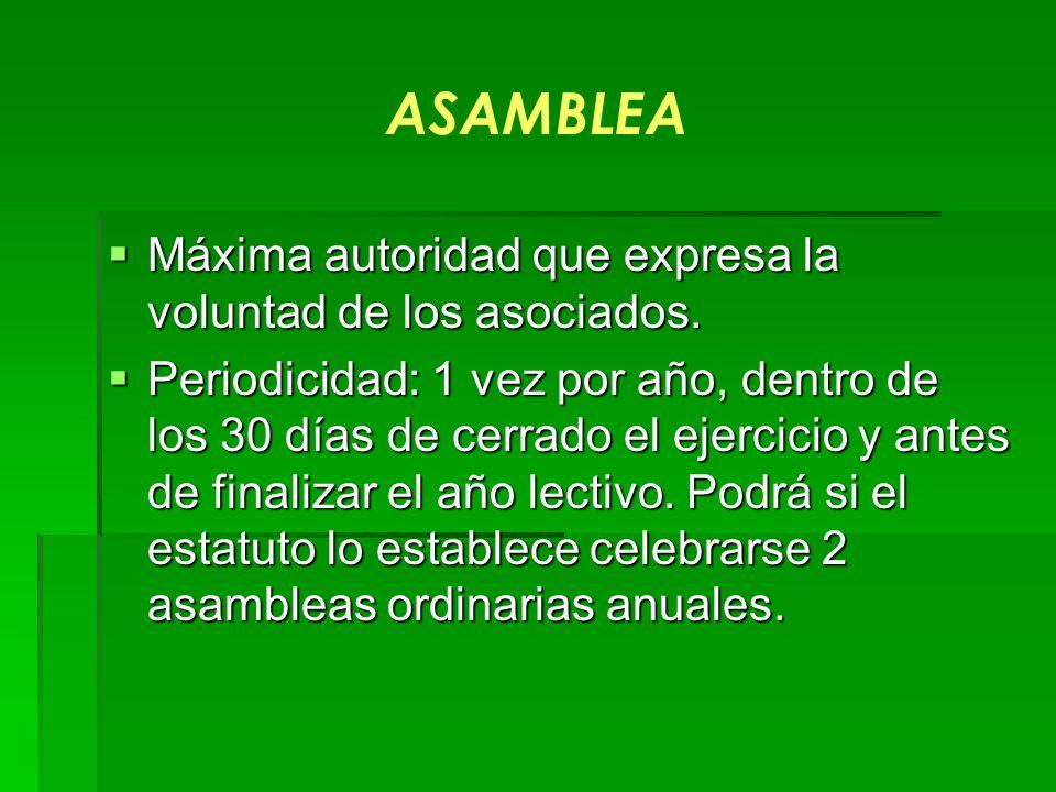 ASAMBLEA Máxima autoridad que expresa la voluntad de los asociados.