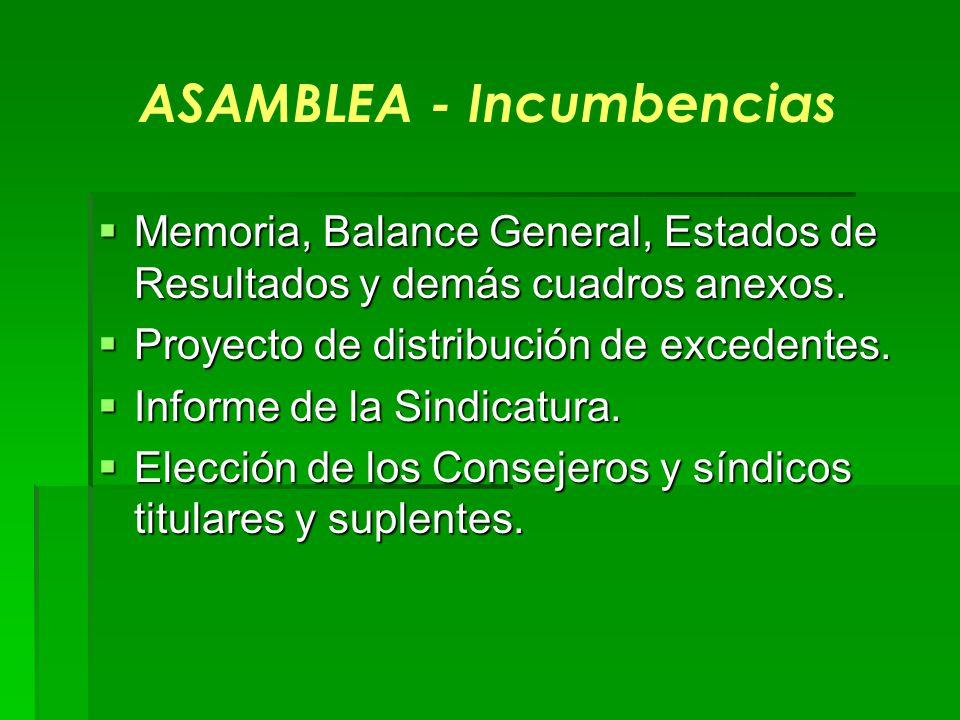 ASAMBLEA - Incumbencias