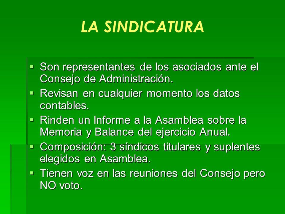 LA SINDICATURA Son representantes de los asociados ante el Consejo de Administración. Revisan en cualquier momento los datos contables.