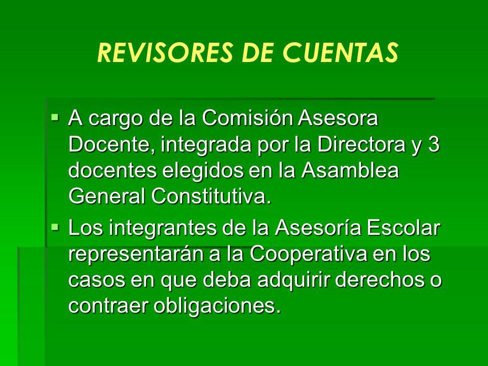 REVISORES DE CUENTAS A cargo de la Comisión Asesora Docente, integrada por la Directora y 3 docentes elegidos en la Asamblea General Constitutiva.