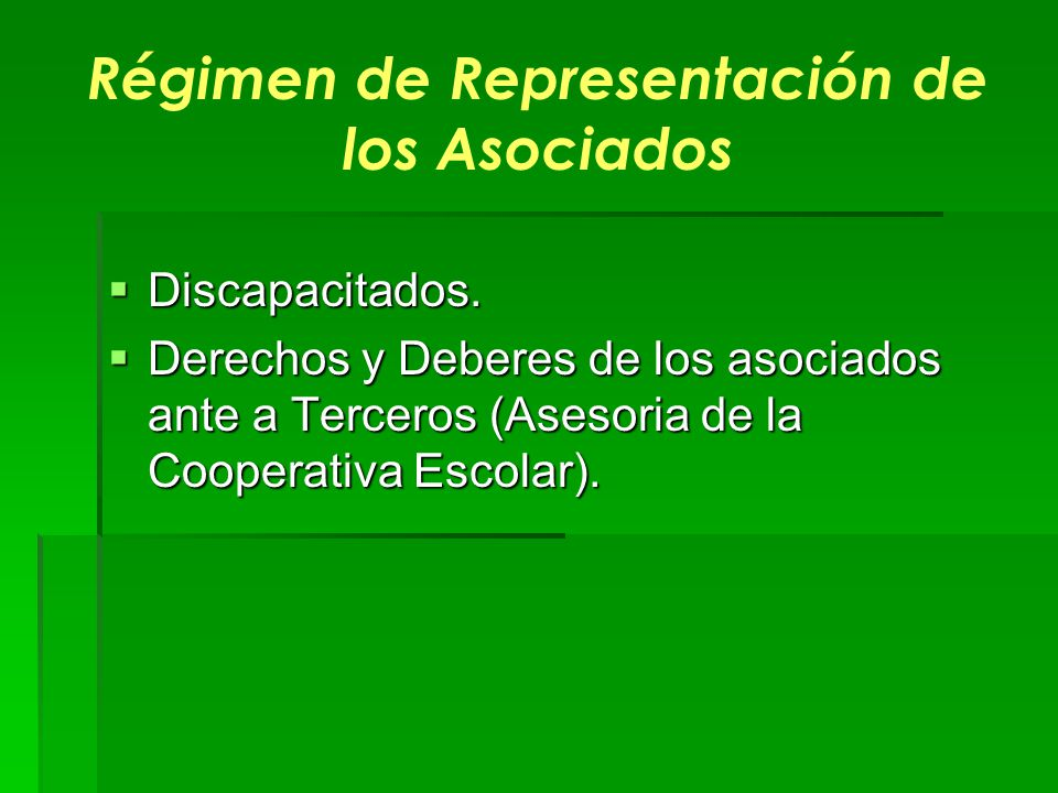 Régimen de Representación de los Asociados
