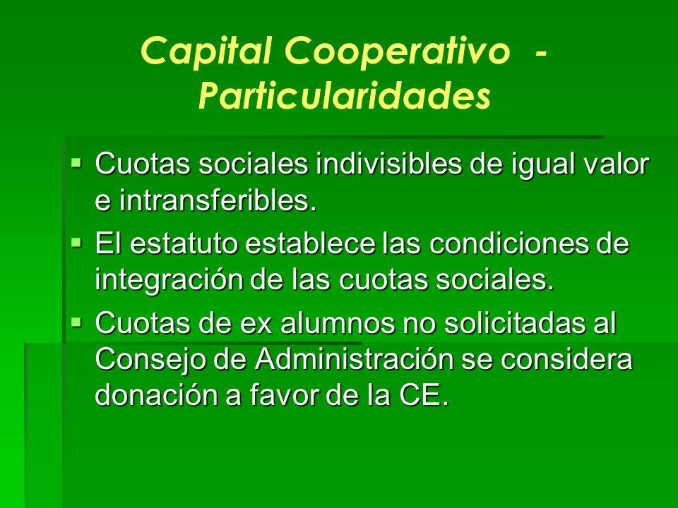 Capital Cooperativo - Particularidades