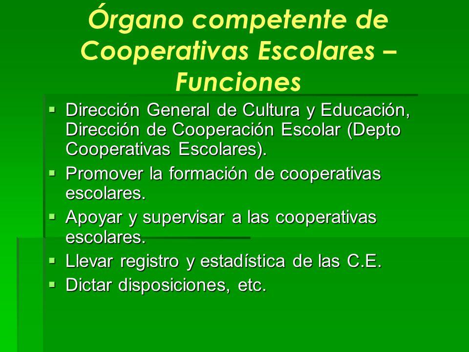 Órgano competente de Cooperativas Escolares – Funciones