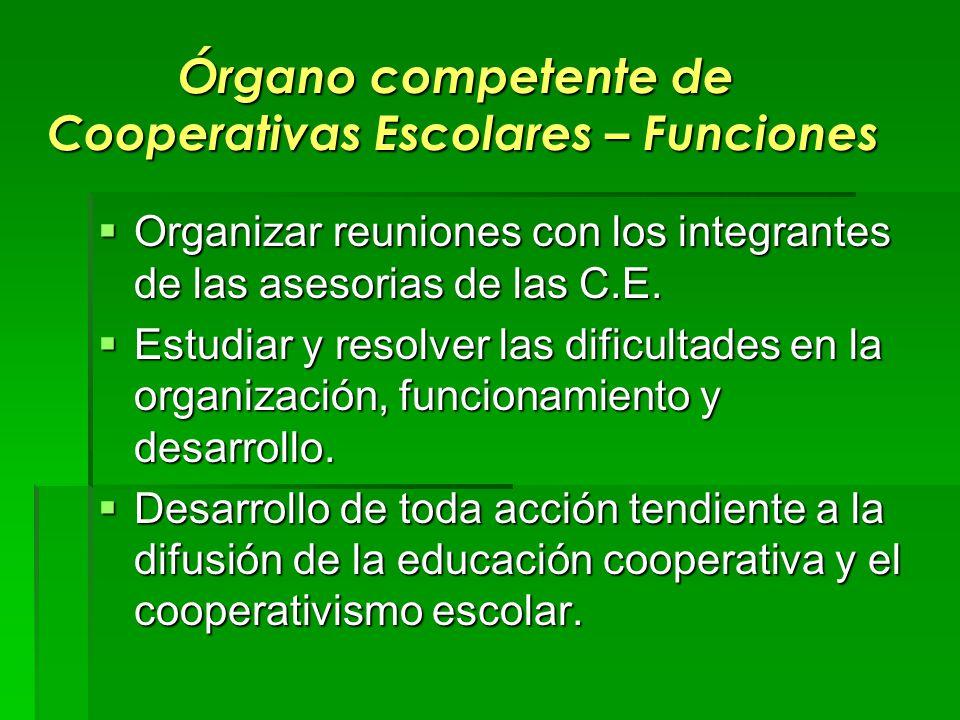 Cooperativas Escolares – Funciones