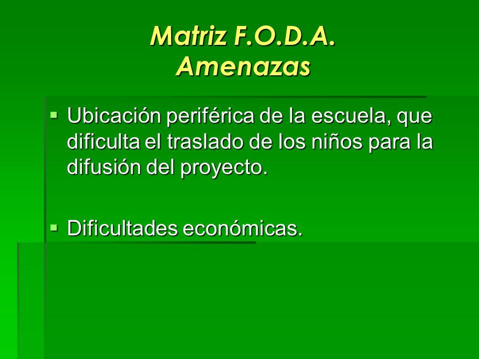 Matriz F.O.D.A. Amenazas Ubicación periférica de la escuela, que dificulta el traslado de los niños para la difusión del proyecto.