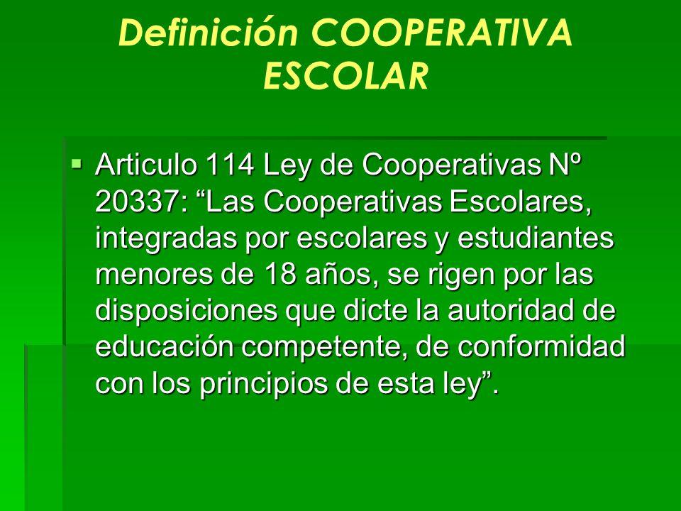 Definición COOPERATIVA ESCOLAR