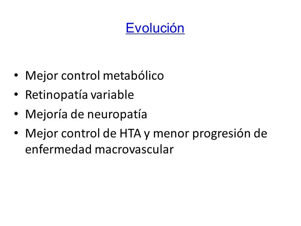 Evolución Mejor control metabólico. Retinopatía variable. Mejoría de neuropatía.