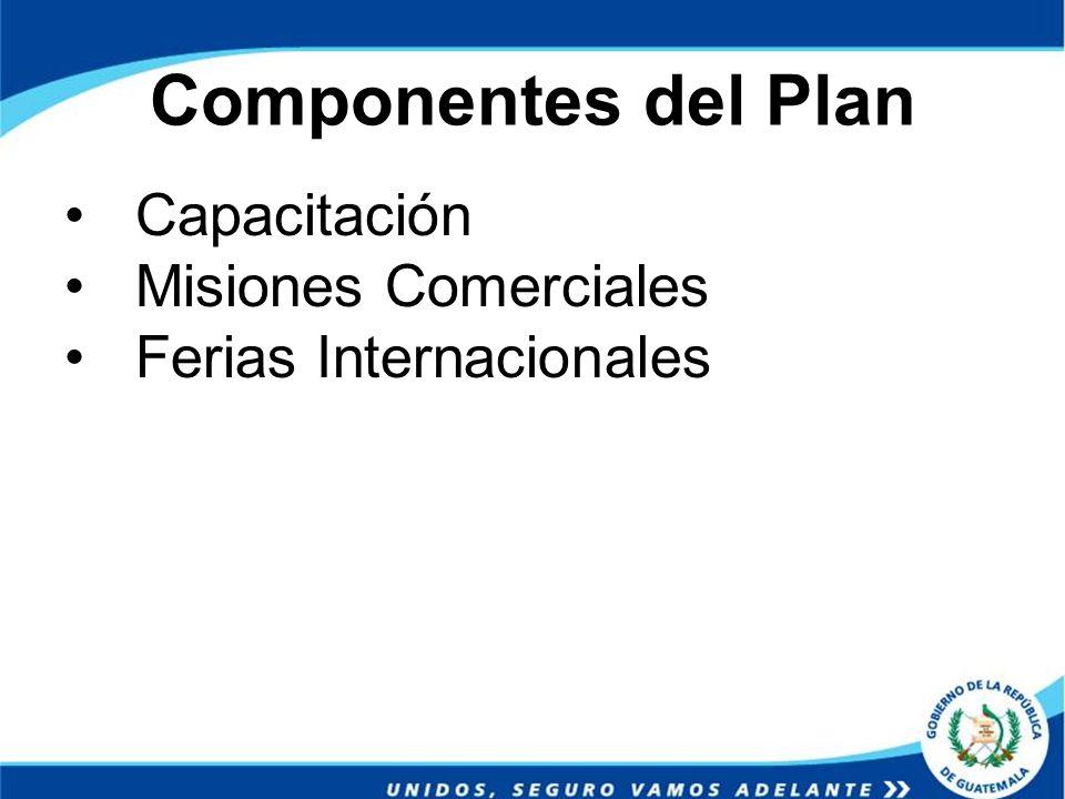 Componentes del Plan Capacitación Misiones Comerciales