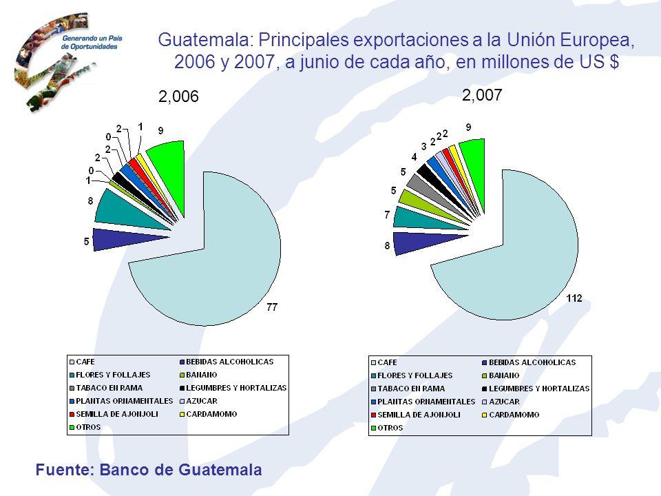 Guatemala: Principales exportaciones a la Unión Europea, 2006 y 2007, a junio de cada año, en millones de US $