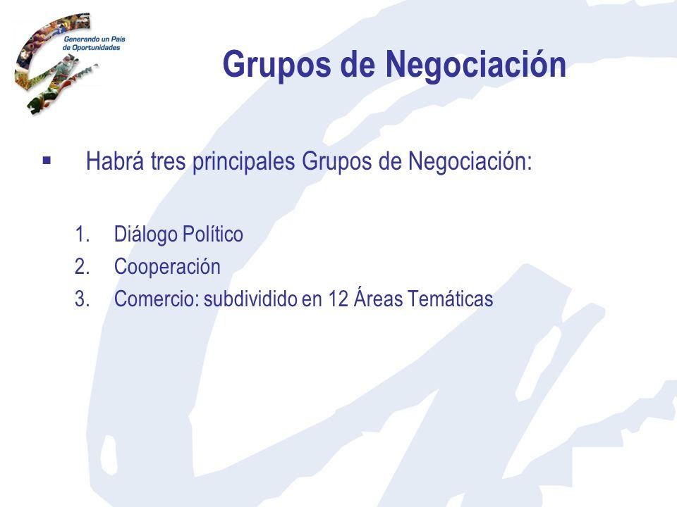 Grupos de Negociación Habrá tres principales Grupos de Negociación: