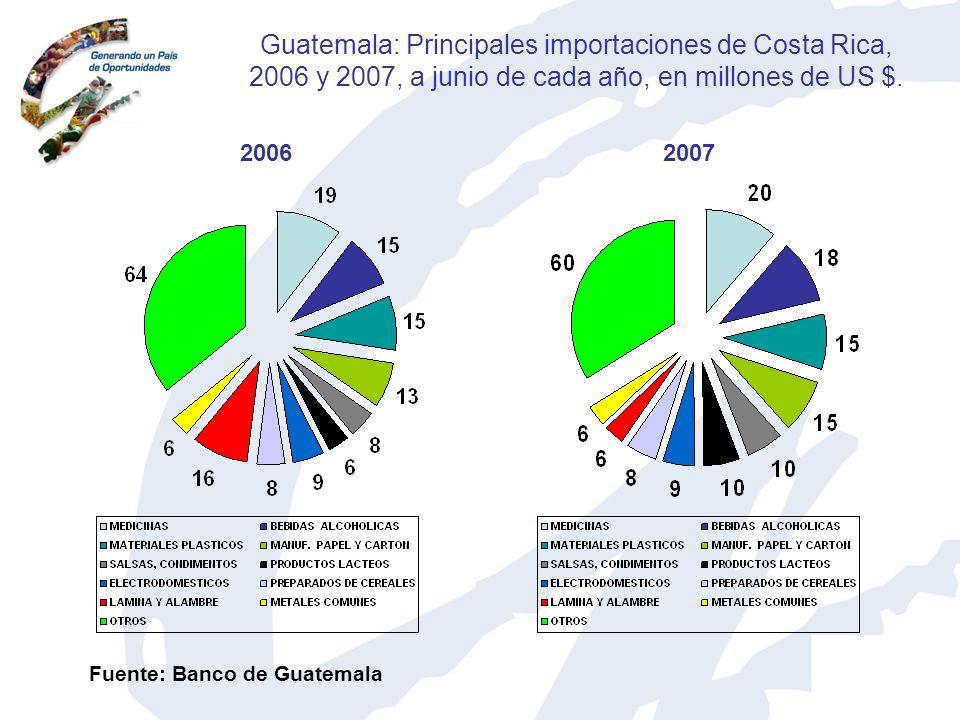 Guatemala: Principales importaciones de Costa Rica, 2006 y 2007, a junio de cada año, en millones de US $.