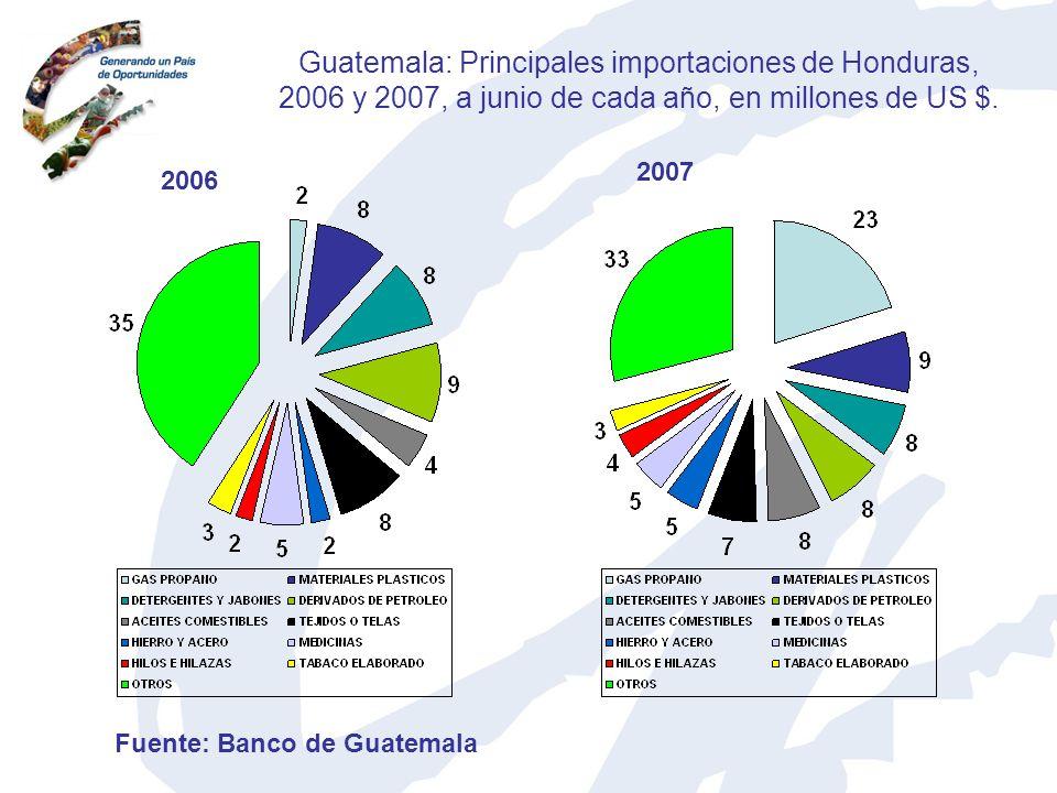 Guatemala: Principales importaciones de Honduras, 2006 y 2007, a junio de cada año, en millones de US $.