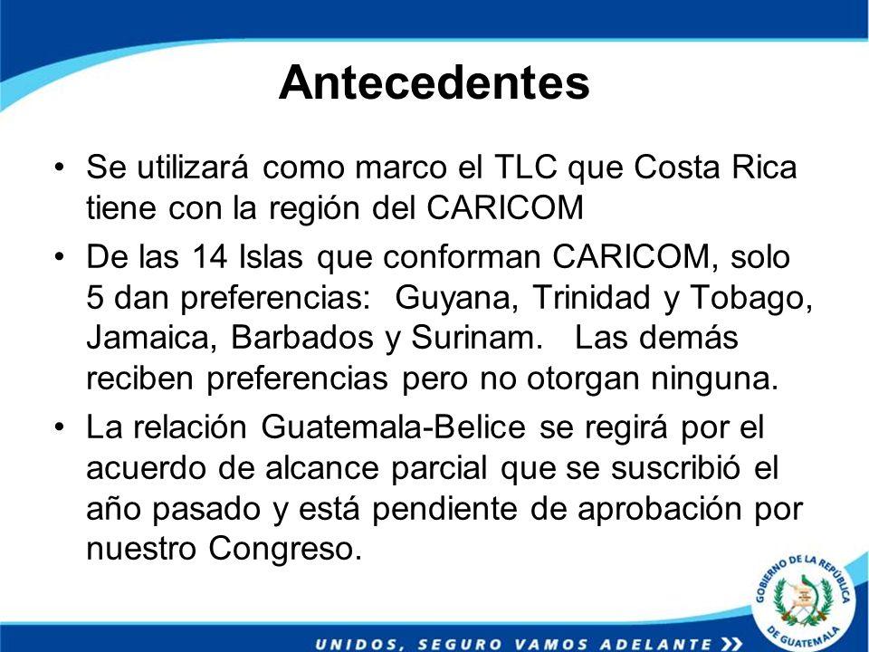 Antecedentes Se utilizará como marco el TLC que Costa Rica tiene con la región del CARICOM.