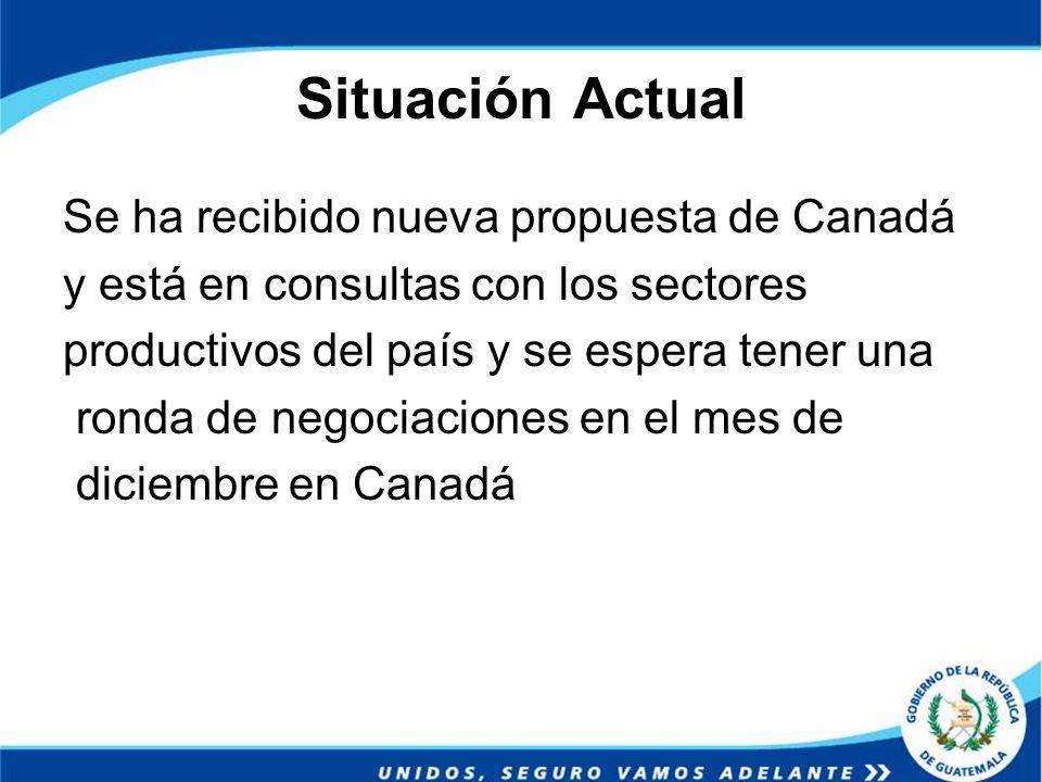 Situación Actual Se ha recibido nueva propuesta de Canadá