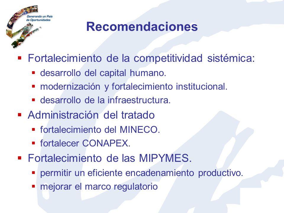 Recomendaciones Fortalecimiento de la competitividad sistémica: