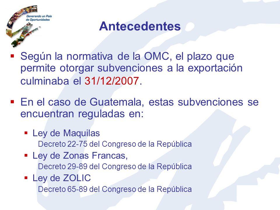 AntecedentesSegún la normativa de la OMC, el plazo que permite otorgar subvenciones a la exportación culminaba el 31/12/2007.