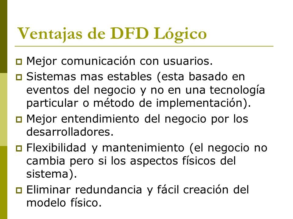 Ventajas de DFD Lógico Mejor comunicación con usuarios.