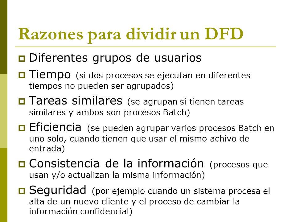 Razones para dividir un DFD