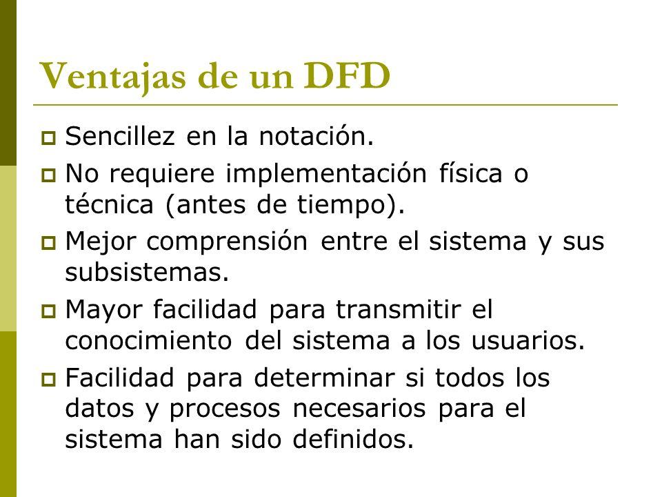 Ventajas de un DFD Sencillez en la notación.
