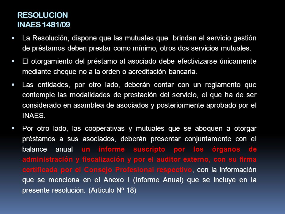 RESOLUCION INAES 1481/09