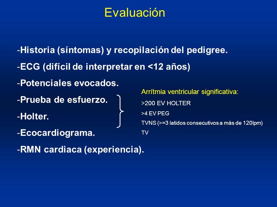 Evaluación Historia (síntomas) y recopilación del pedigree.