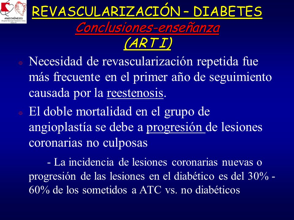 REVASCULARIZACIÓN – DIABETES Conclusiones-enseñanza (ART I)