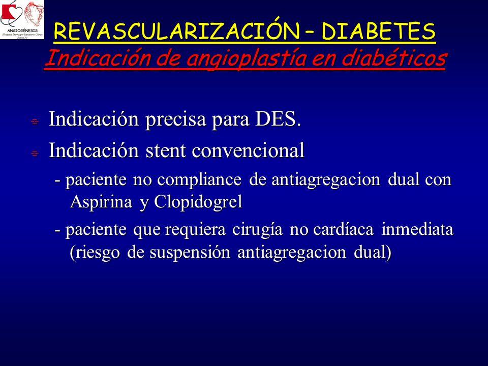 REVASCULARIZACIÓN – DIABETES Indicación de angioplastía en diabéticos