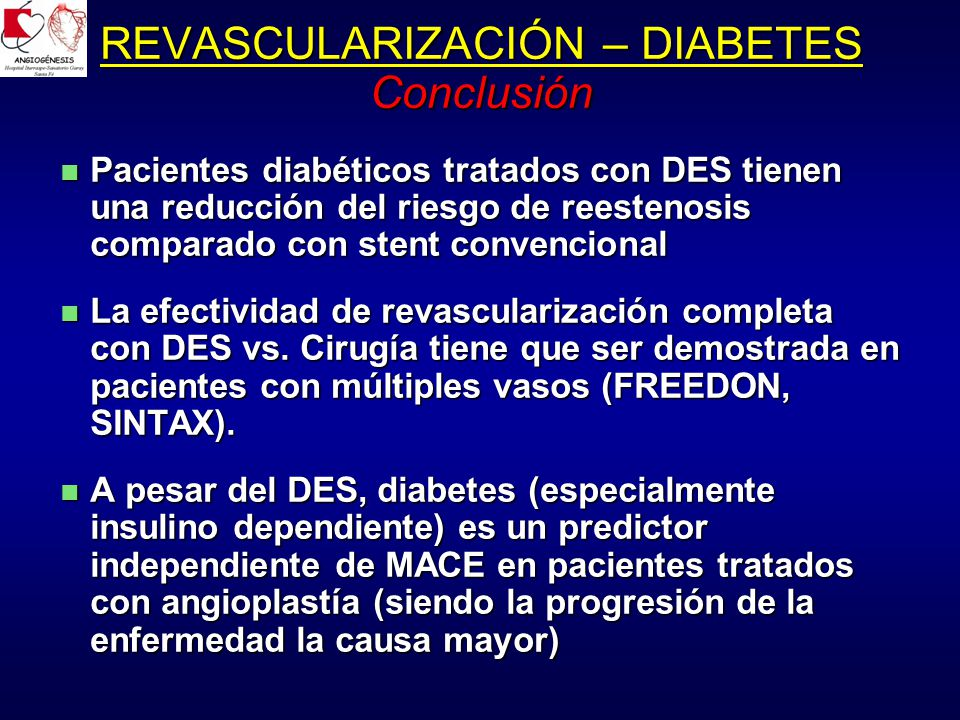 REVASCULARIZACIÓN – DIABETES Conclusión