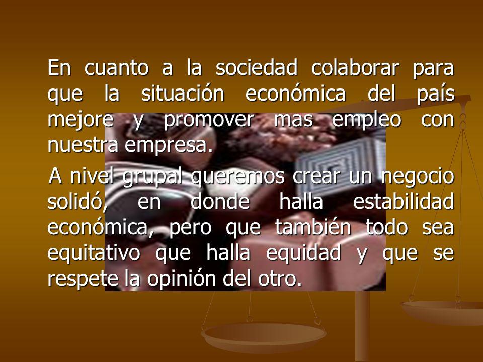 En cuanto a la sociedad colaborar para que la situación económica del país mejore y promover mas empleo con nuestra empresa.