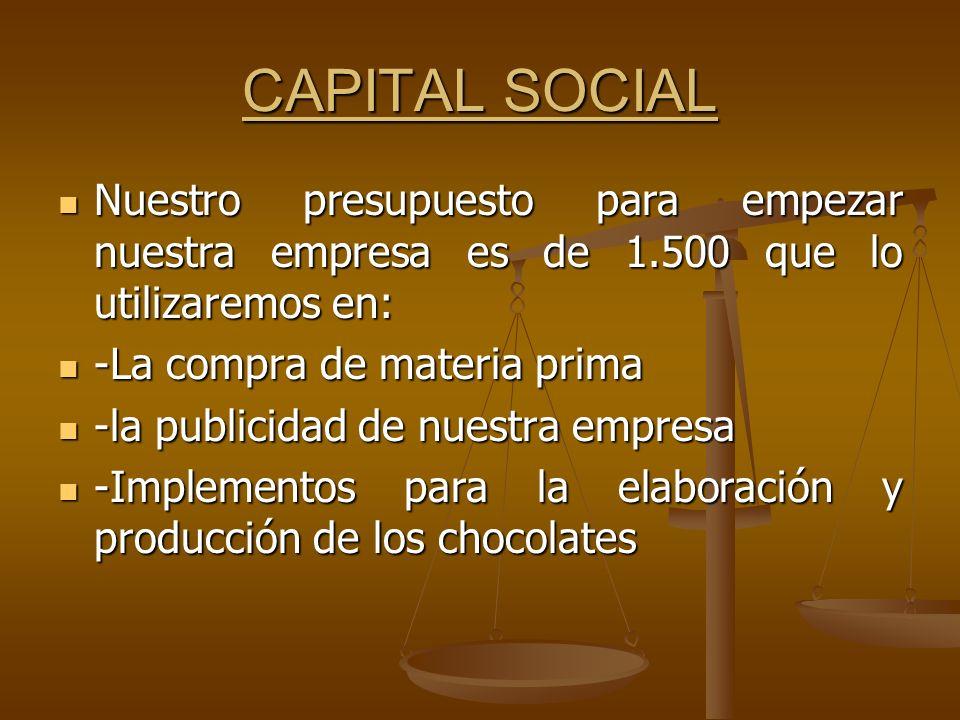 CAPITAL SOCIAL Nuestro presupuesto para empezar nuestra empresa es de 1.500 que lo utilizaremos en: