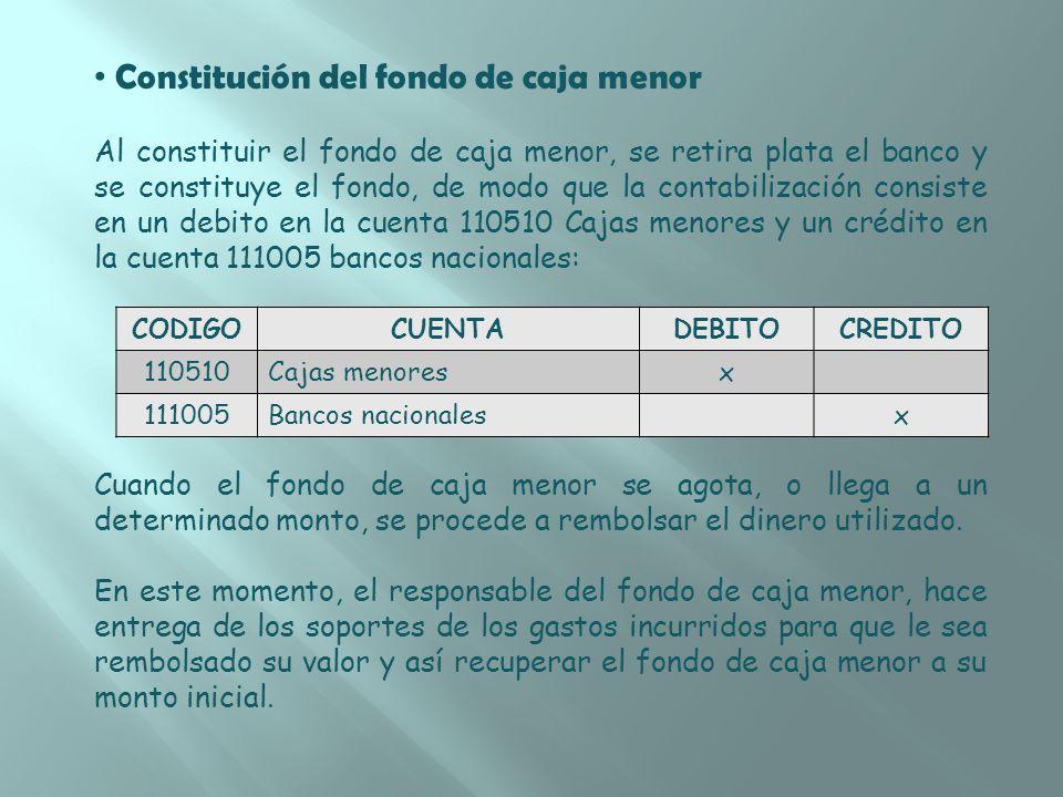 Constitución del fondo de caja menor