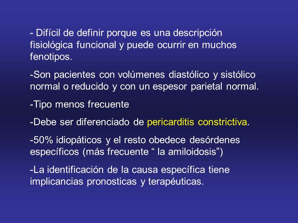 - Difícil de definir porque es una descripción fisiológica funcional y puede ocurrir en muchos fenotipos.