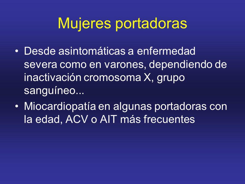 Mujeres portadoras Desde asintomáticas a enfermedad severa como en varones, dependiendo de inactivación cromosoma X, grupo sanguíneo...
