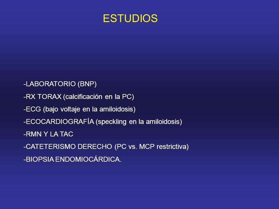 ESTUDIOS -LABORATORIO (BNP) -RX TORAX (calcificación en la PC)