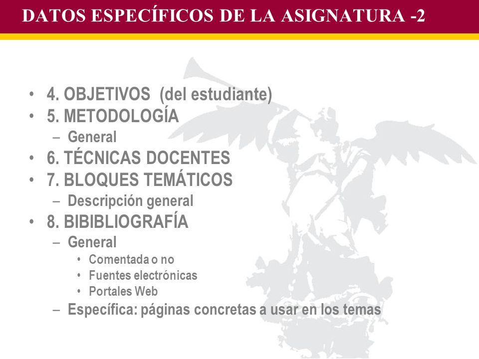 DATOS ESPECÍFICOS DE LA ASIGNATURA -2