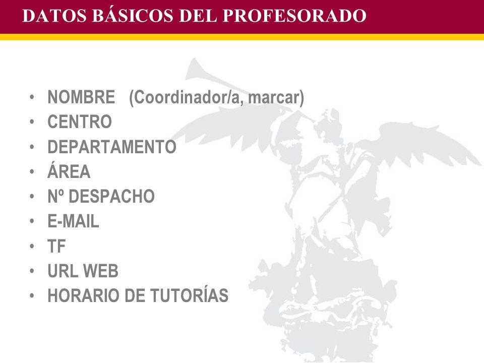 DATOS BÁSICOS DEL PROFESORADO
