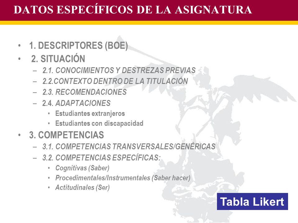DATOS ESPECÍFICOS DE LA ASIGNATURA
