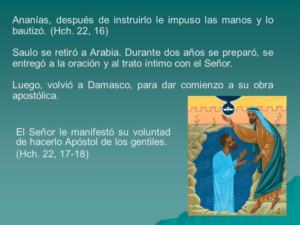 Ananías, después de instruirlo le impuso las manos y lo bautizó. (Hch