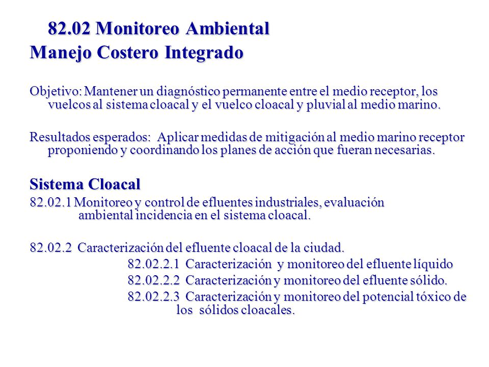 82.02 Monitoreo Ambiental Manejo Costero Integrado Sistema Cloacal