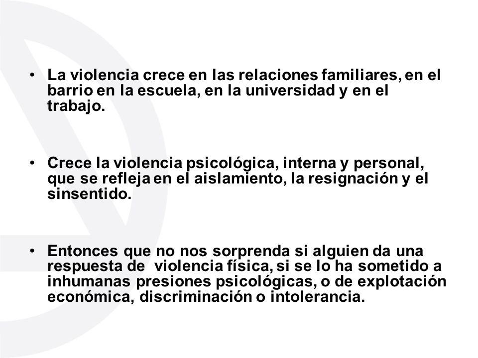 La violencia crece en las relaciones familiares, en el barrio en la escuela, en la universidad y en el trabajo.