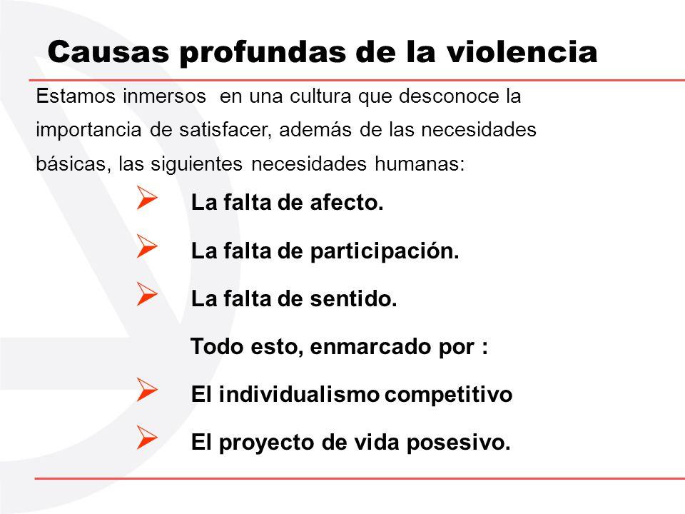 Causas profundas de la violencia