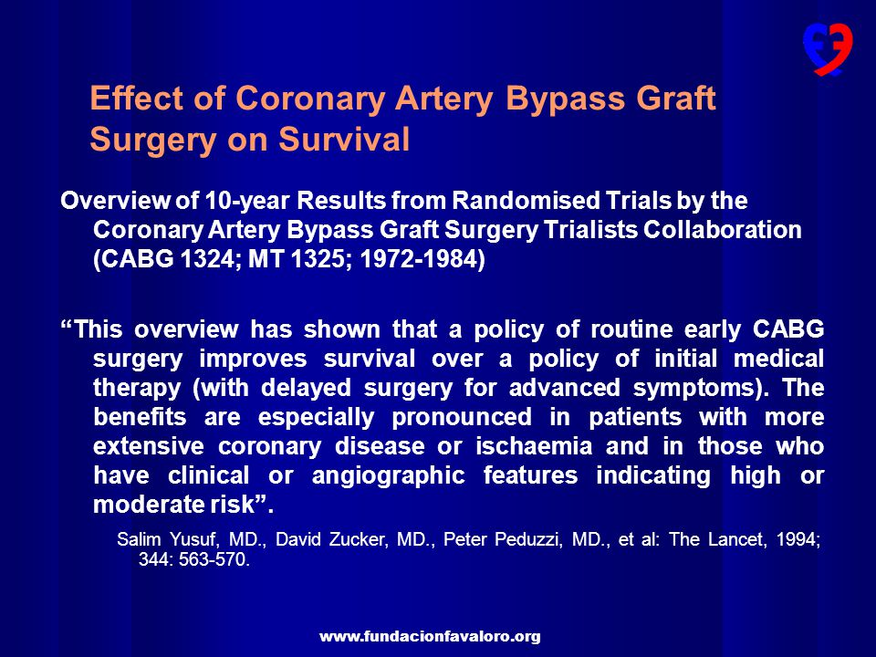 Effect of Coronary Artery Bypass Graft Surgery on Survival
