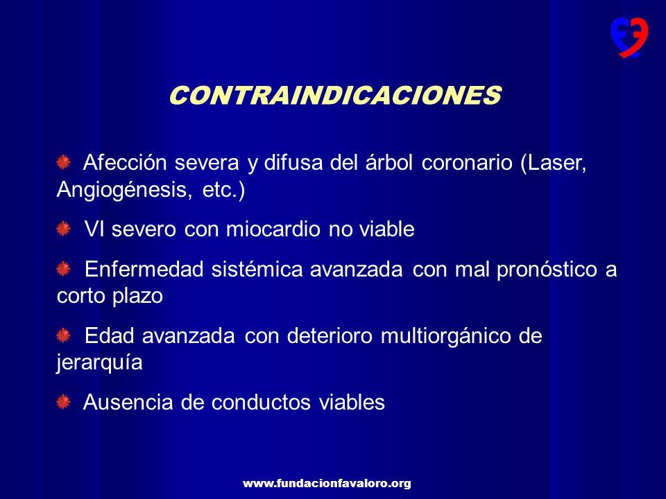 CONTRAINDICACIONES Afección severa y difusa del árbol coronario (Laser, Angiogénesis, etc.) VI severo con miocardio no viable.