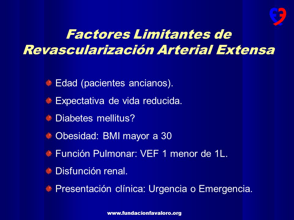Factores Limitantes de Revascularización Arterial Extensa