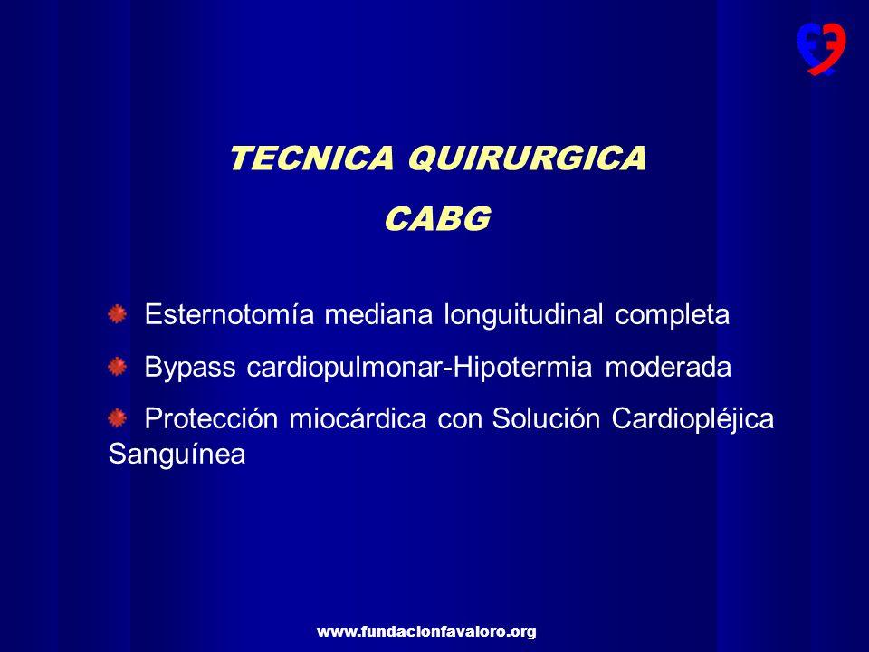 TECNICA QUIRURGICA CABG Esternotomía mediana longuitudinal completa
